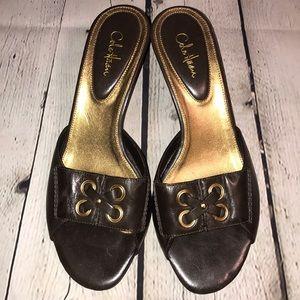 Cole Haan low pump open toe sandal 7 1/2 brown